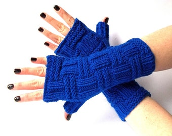 Knit Fingerless Gloves. Blue Knit Gloves. Knitted Wrist Warmers. Arm Warmers. Knit Mittens. Women Gloves. Hand Warmers.