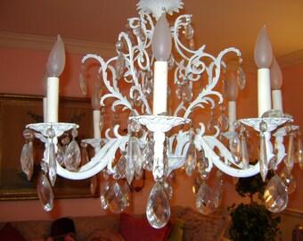 large vintage cottage chic chandelier with prisms