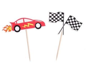 Race Car Cupcake Toppers - Race Car Birthday Decorations - Race Car Party - Race Car Cake Topper