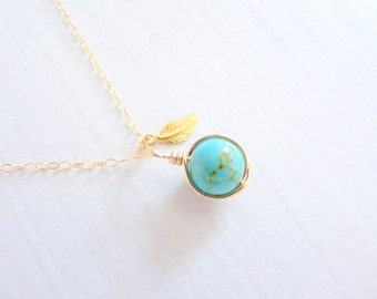 Turquoise necklace, leaf charm necklace, wire wrapped, simple, minimalist necklace, gold filled