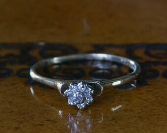DEADsy LAST GASP SALE Diamond Cluster Ring // Gold Flower Engagement Ring // Floral Cluster Diamond Ring // Vintage Diamond Flower