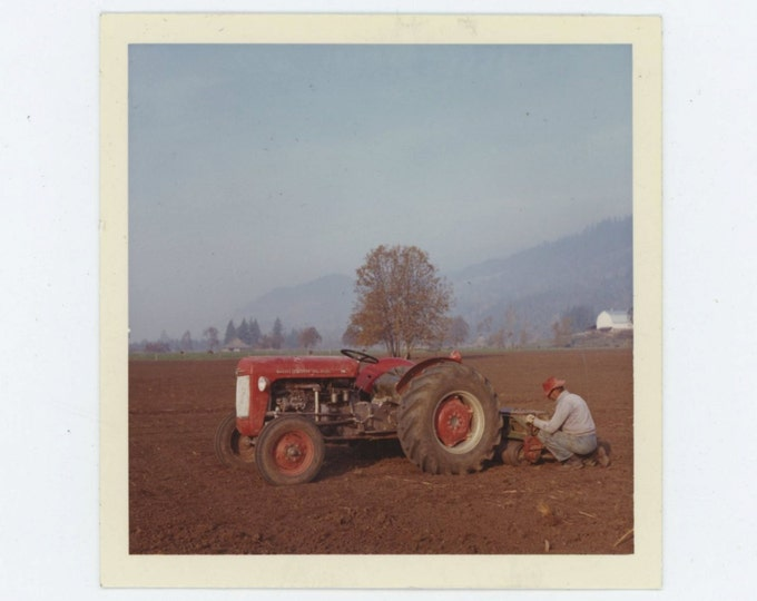 Red Tractor, 1960s-70s Vintage Snapshot Photo (66476)
