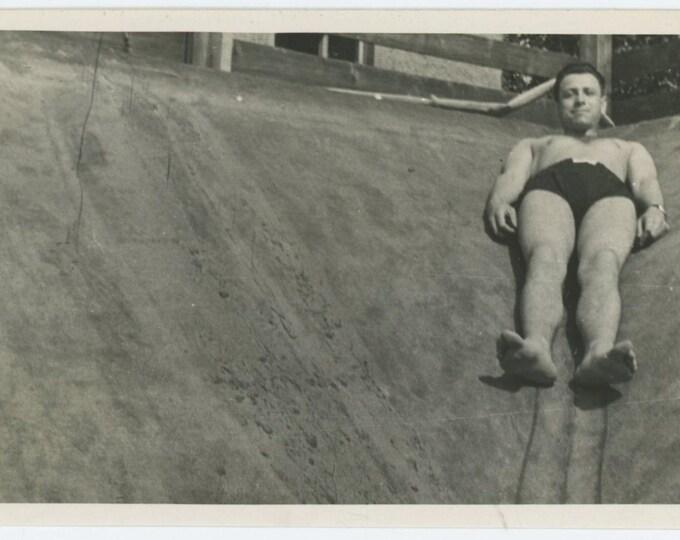Man in Swimsuit, c1950s: Vintage Snapshot Photo (67487)