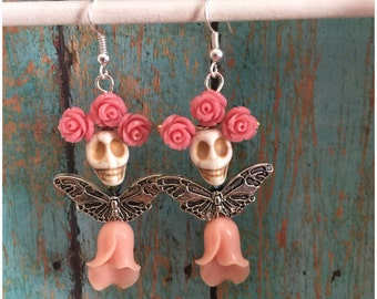Day of the Dead Sugar Skull Fairy Earrings