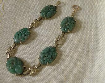 Beautiful 14K Gold Carved Jade Bracelet