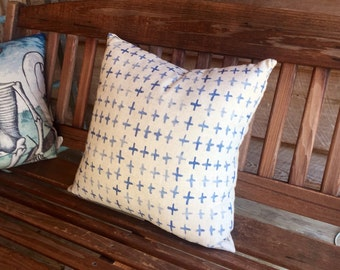 Crosses Watercolor Pillow, Indigo-Inspired Throw Pillow, 18""