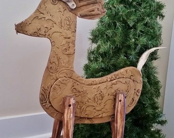 Christmas in July Christmas Reindeer Sculpture Christmas Decor, Recycled, Repurposed One of a Kind. Vintage Look Deer Distressed Gold Finish