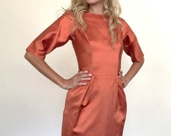 Vintage Orange Satin Wiggle Dress