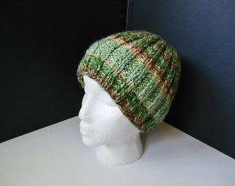 Green Brown Tan OOAK Hand Knit Thick Head Hugger Child Teenager Adult
