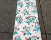 Vintage Pink and Teal Patio Lounge Chair Cushion
