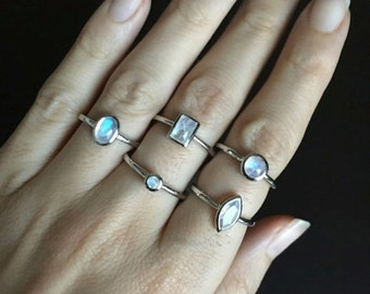 Moonstone Boho Gypsy Ring- June Birthstone Stack Ring- Pinky Knuckle Silver Ring- Small Gemstone Ring- Bohemian Midi Ring- Stone Stack