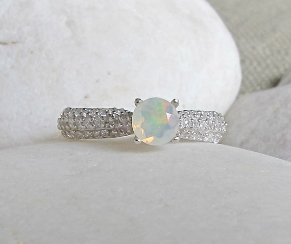 simple opal promise ring round opal engagement ring 4 prong. Black Bedroom Furniture Sets. Home Design Ideas
