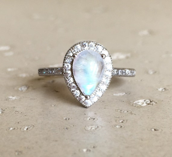 pear shaped moonstone ring engagement ring promise ring