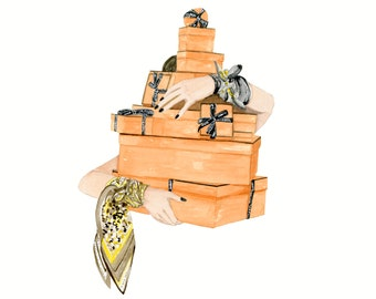 Hermes Boxes, print from original watercolor and mixed media fashion illustration by Dena Cooper
