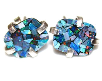 Australian Lightning Ridge Opal Earring Opal Stud Earring Opal Mosaic Earring Simple Earrings Delicate Jewelry Opal Jewelry Jewel Tones