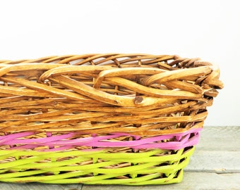 Large Painted Basket - Lilac and Lime - Modern Home Organization - Color Blocking