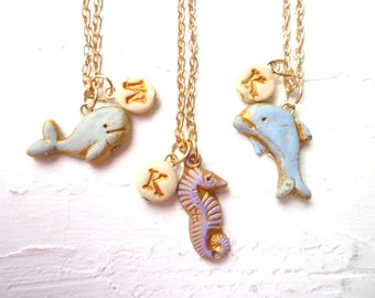 Sea Creatures Jewelry, Coordinated Ocean Charms Trio, Girl Beach Jewelry, Beach Wedding, Matching Girls Necklaces, Sisters, Best Friends