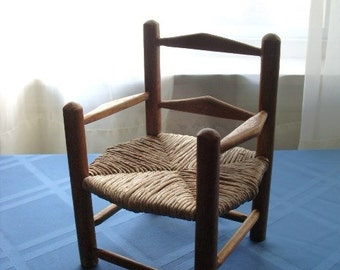"""vintage wood rocking chair, country, folk art-8"""" tall x 6"""" wide, great for stuffed animals"""