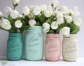 Dorm Decor - Home or Office Decor - Painted Mason Jar - Pencil Holder - Vase Blush mint jade cream