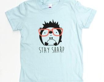 SALE - Toddler Funny T-Shirt Unisex Hedgehog w Glasses