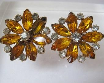 1950 Big Bold Statement Citrine Rhinestone FLOWER Earrings, on the ear, clip backs/ Retro Romantic/ Glass Crystal Stones/ Yellow & Clear