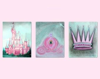 Princess Girl Nursery, Crown, Nursery prints, Coach, Castle, Baby girl nursery, Aqua, Pink, Nursery decor, baby room decor,nursery wall art