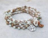 Yoga Bracelet - Beaded Wrap Bracelet - Amazonite, Labradorite and Impression Jasper Gemstone Bracelet -  Sterling Silver Cross Charm