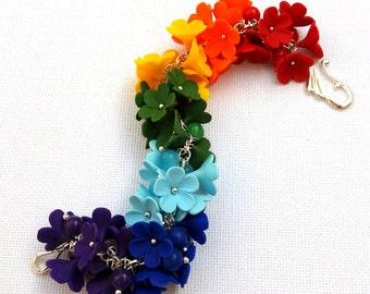 Rainbow Jewelry Rainbow Bracelet Flower Bracelet Ombre Jewelry Flowers Charm Bracelet Colourful Jewelry Polymer Jewelry Gift For Her