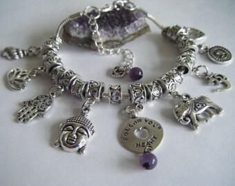 Spiritual Inspirational Healing Charm Bracelet Follow Your Heart Love Life Live Life Quote Buddha Lotus Om Cosmic Love Amethyst Beads