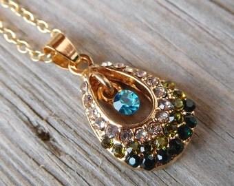 Teardrop 18k Gold Plated CZ Pendant Necklace