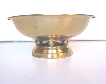 Brass Bowl,  Hollywood Regency Brass Compote, Vintage Brass Bowl, Rustic Wedding