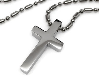 Stainless Steel Cross Necklace, Religious Jewelry, Christian Gifts for Men, Military Bead Chain