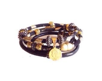 Leather wrap bracelets, stacking bracelets, black leather cuffs, leather wraps, leather charm wraps, boho leather wraps, womens gift