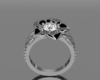 14KT White Gold With 6.5 mm Moissenite With Flower and Leaves