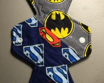 "10"" flannel top patchwork batman vs superman logo print moderate cloth pad"