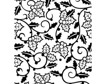 HOLLY VINES and BERRIEs  - EMBOSSING BACKGRoUND  - DARiCE-FoLDeR - A2   Very Beautiful for Card Making