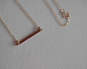 Skinny Bar Gold/Sterling Necklace, Delicate Bar, Horizontal Bar, Extra Small Skinny Bar Necklace