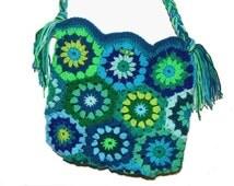 upcicled RETRO HeXagon FloWerS * Crochet Bag HIPPIE