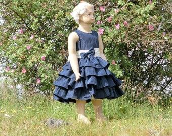 Navy flower girl dress. Flower girl dress navy. Navy and cream flower girl dress.Blue flower girl dress. Nautical wedding, special occasion