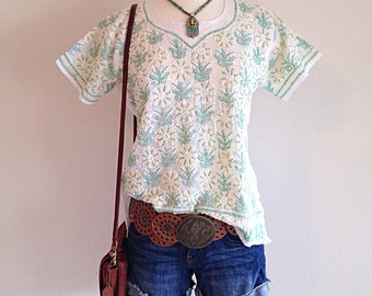 Beautiful Boho Embroidered Hippie Shirt Blouse