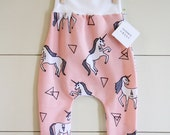 Handmade Hipster Baby Leggings | Baby Harem Pants | Baby Harems | Baby girl Pants Leggings| Pink Unicorn Print