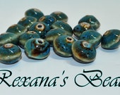Porcelain Blue 15x11 Saucer Beads- Set of 18