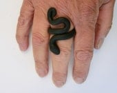 Black snake ring/ flexible polymer clay can bend out/  2 different sizes