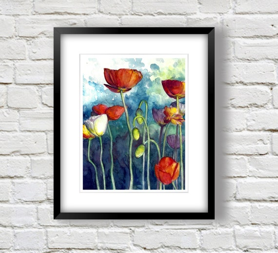 Red Poppy Painting- Colorful Flower Print- Watercolor Flowers - Red White Blue Art -  8x10 or 11x14