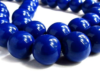 Royal Blue Beads • 10mm Beads • Glass Beads • Round Beads,  15/30/50 - B1020