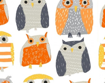 Dear Stella Fabric Owls On White Crafting Sewing Quilting 100% Cotton