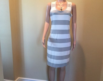 Bold Gray and White Striped T Shirt Dress