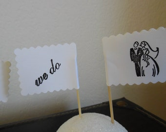Wedding Cupcake Toppers - Bridal Shower Cupcake Toppers- Bride & Groom Cupcake Toppers- We Do cupcake Toppers