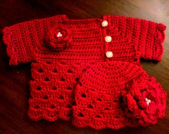 Crocheted Baby Girl's Sweater Set Red Baby Sweater and Hat Set Deep Red Baby Girl's  Sweater and Hat with Matching Flowers with Bead Centers