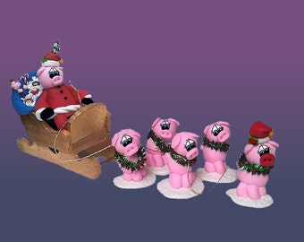 Pig Santa Sleigh